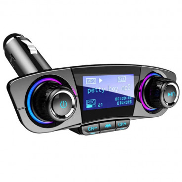 Modulator FM si Bluetooth cu Display, 2 Port-uri USB, Micro SD si Jack 3.5 mm