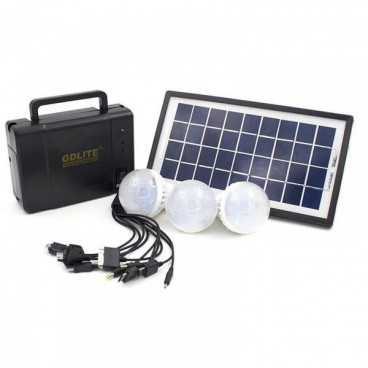 Kit de incarcare solara, 3 becuri LED, Functie Power Bank , GD-LITE